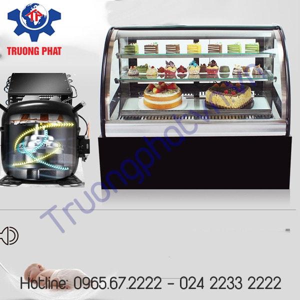 Tủ trưng bày bánh kem có cửa và giá bằng kính