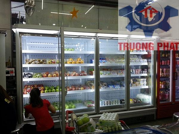 Tủ mát siêu thị bảo quản rau quả dùng lock trong