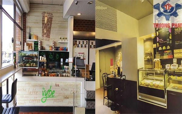 Dùng tủ trưng bày bánh ngọt mini cho tiệm café
